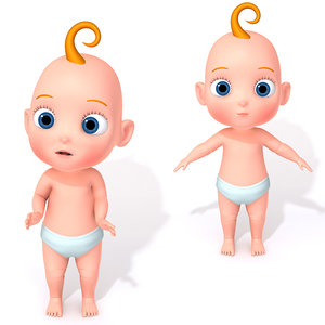 cartoon baby rigging 3D model