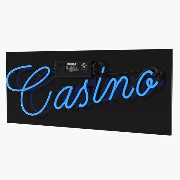 neon sign casino 3D model