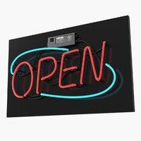 neon sign open 3D model