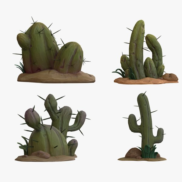 cartoon cactuses - cactus 3D
