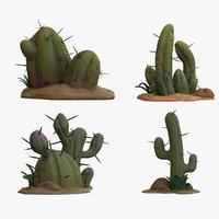 cartoon cactuses - cactus 3D