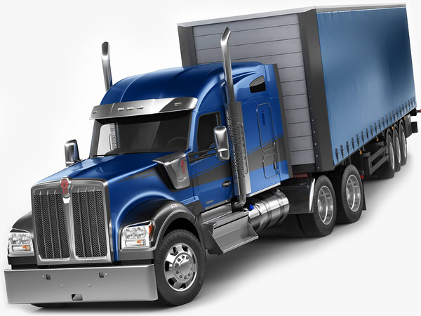 semi truck trailer 3D