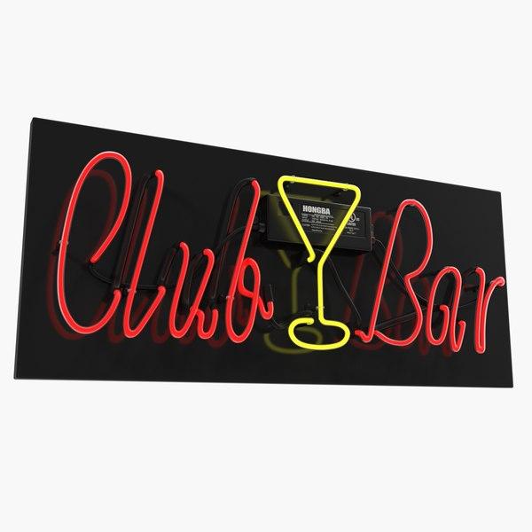 neon sign club bar 3D