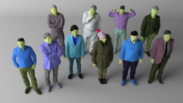 3D colored 10 people crowds model