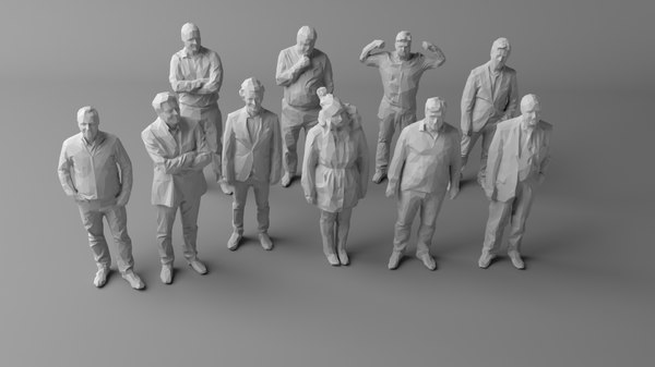 3D 10 people crowds human