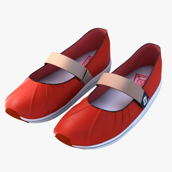 3d model of woman red shoes