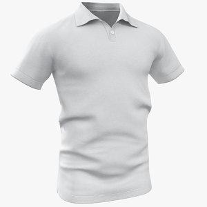 3D polo shirt white model