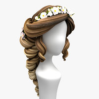 cartoon hair hairstyle bride 3D model