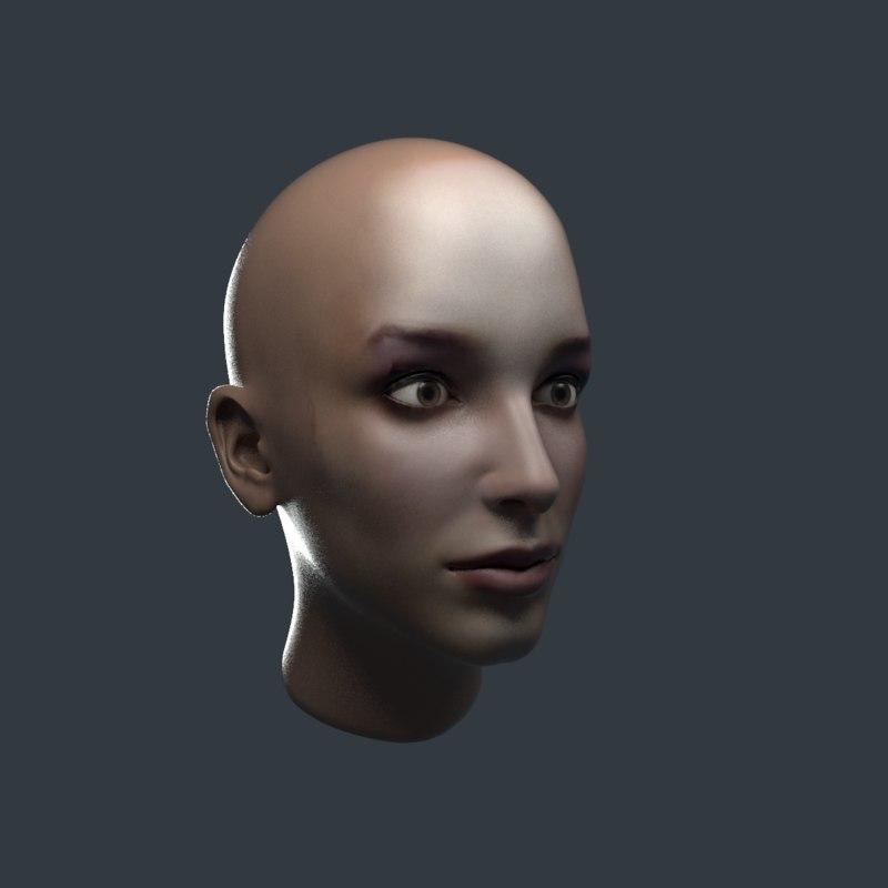 realistic female head 3D