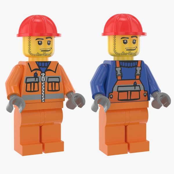 lego construction workers 3D model