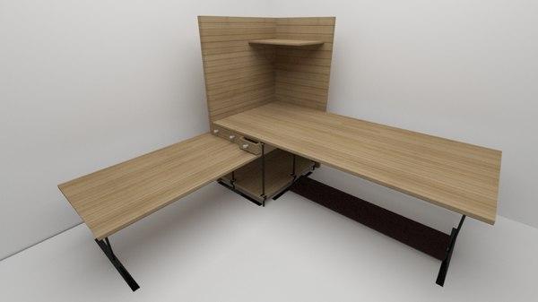 3D l-shape corner desk computer model