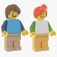 lego casual man woman realistic 3D