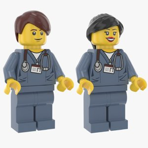 3D model lego man woman doctor