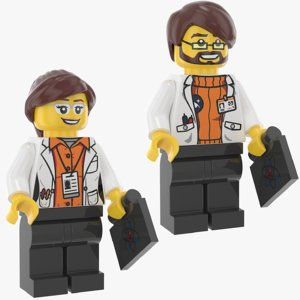 3D model lego man woman scientist