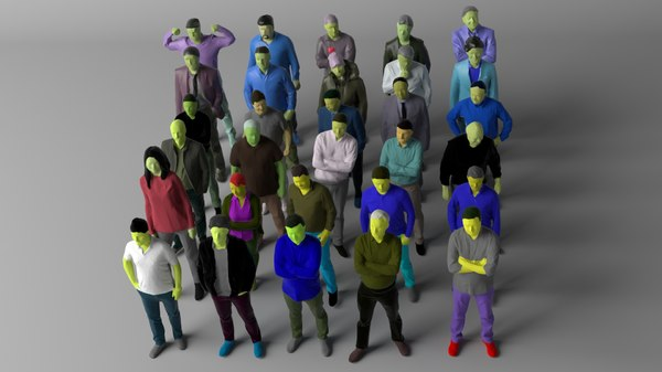 30 people colored crowds 3D model