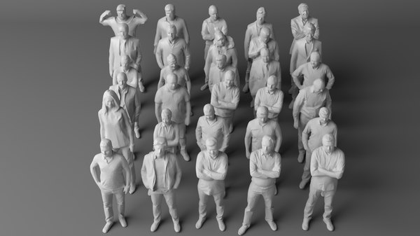 30 people architectural crowds 3D model