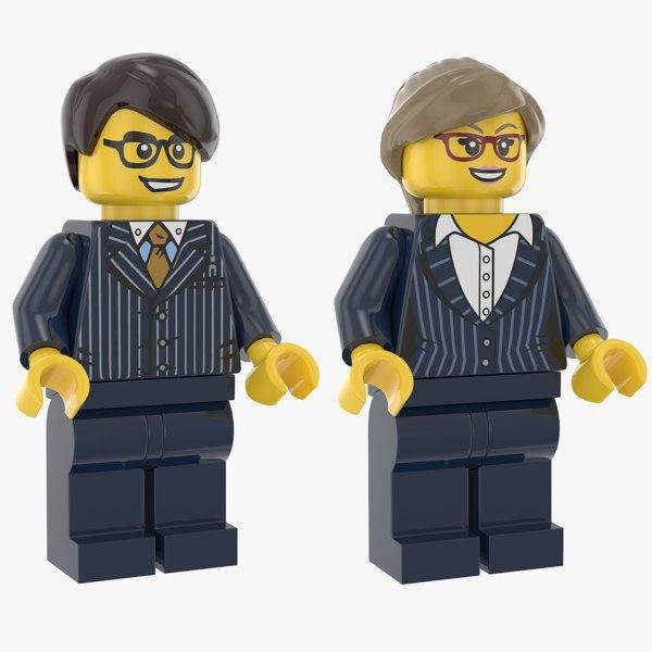 3D lego man woman executive model