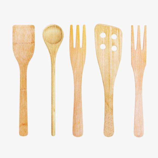 wooden utensils 2 3D