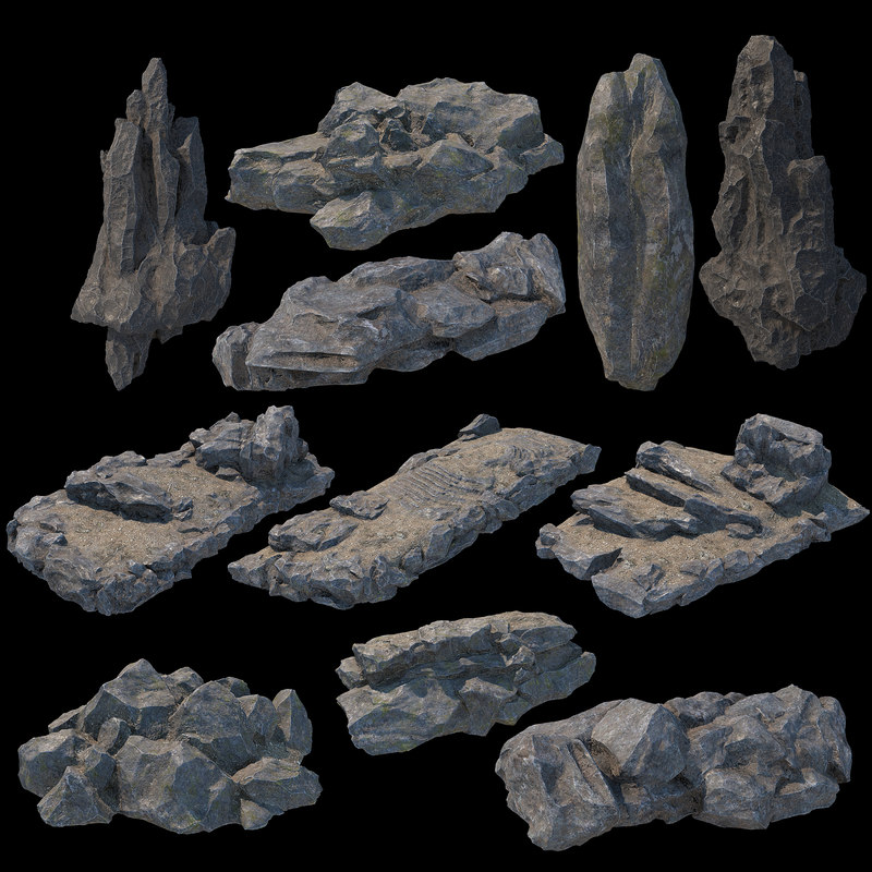 3D model v-ray pbr modular stone
