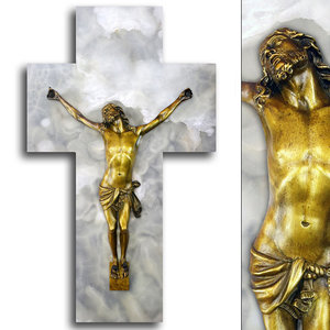 3D bronze jesus christ cross model