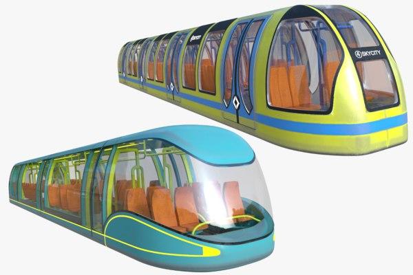3D sci-fi subway cars pbr model