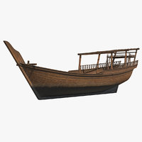 traditional arabic wooden boat 3D model