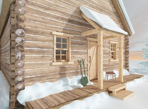 3D model wood cabin exterior