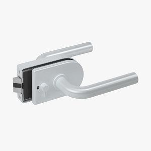 lock glass door 3D model