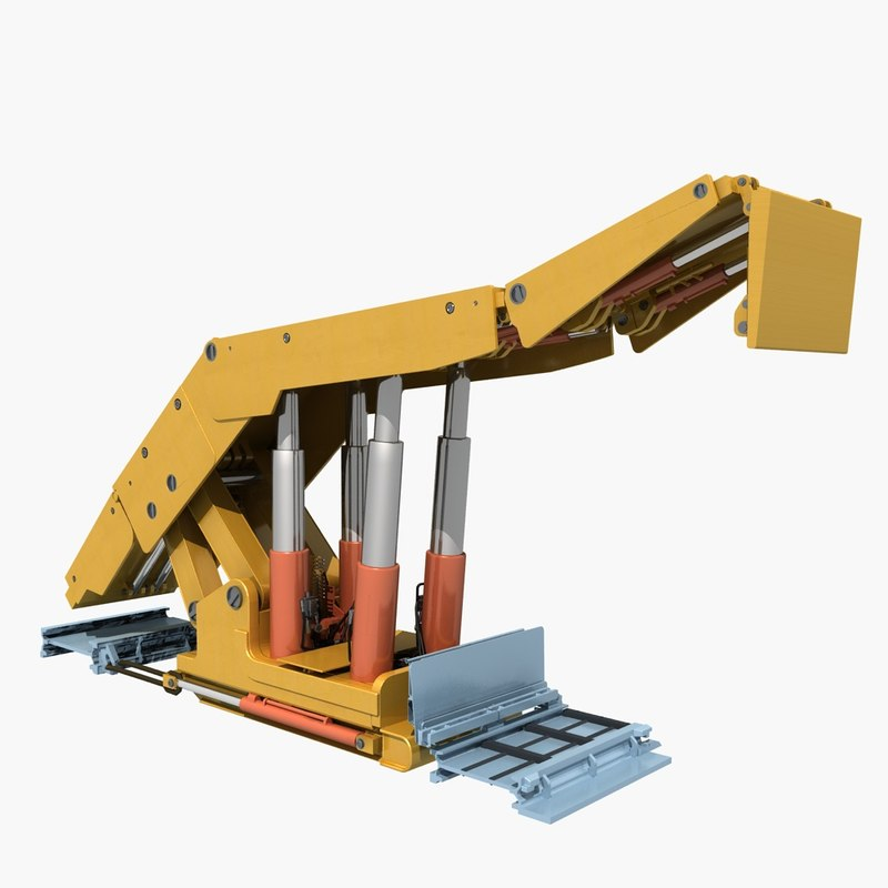 longwall mining coal shearer 3D model