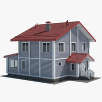 realistic grey cottage model