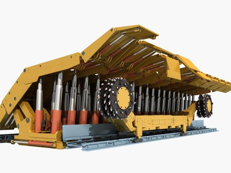 3D shearer loader longwall mining model