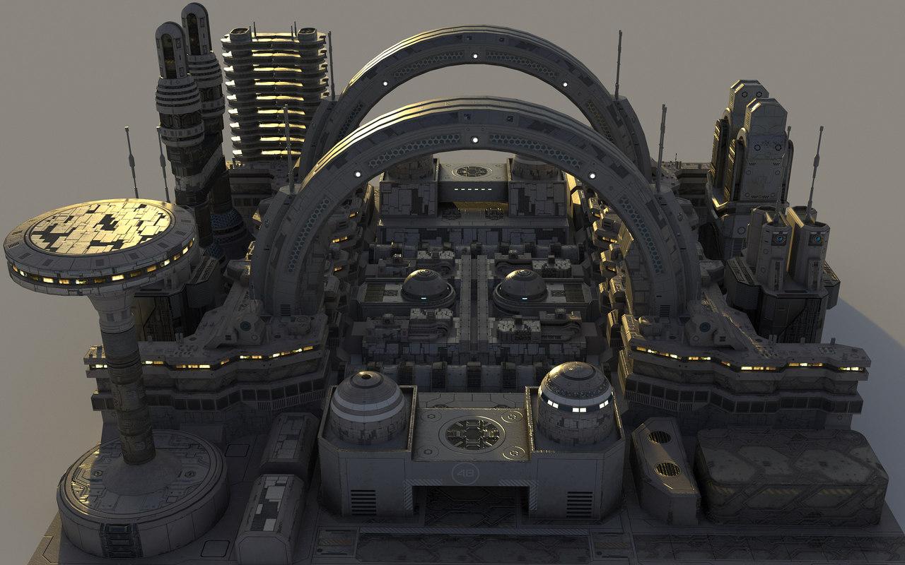 3D futuristic buildings xxi 4 model