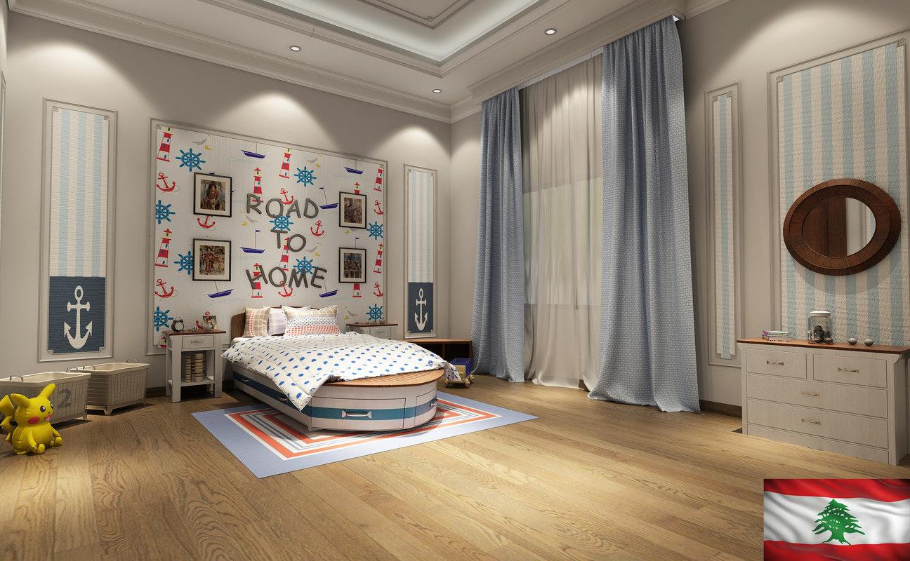 3D boy bedroom furniture model