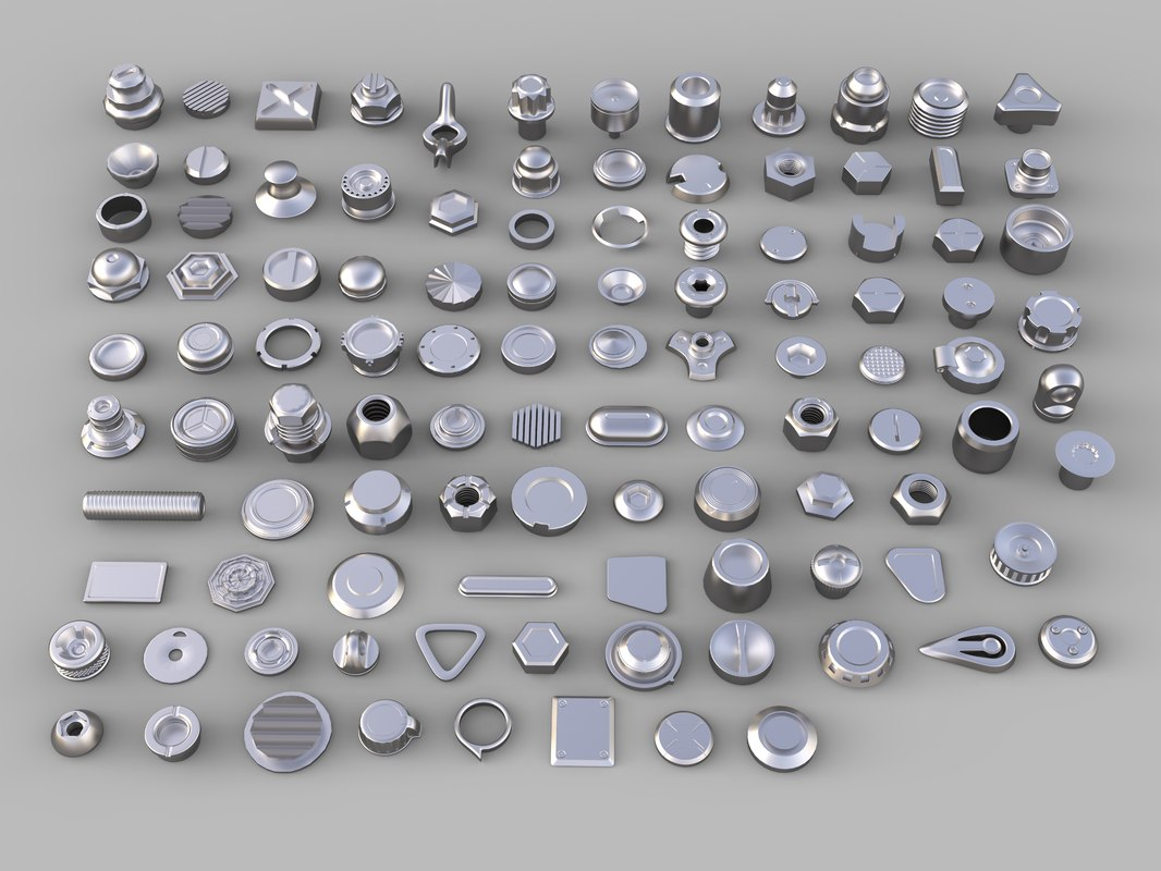 3D bolts knobs 106 pieces model
