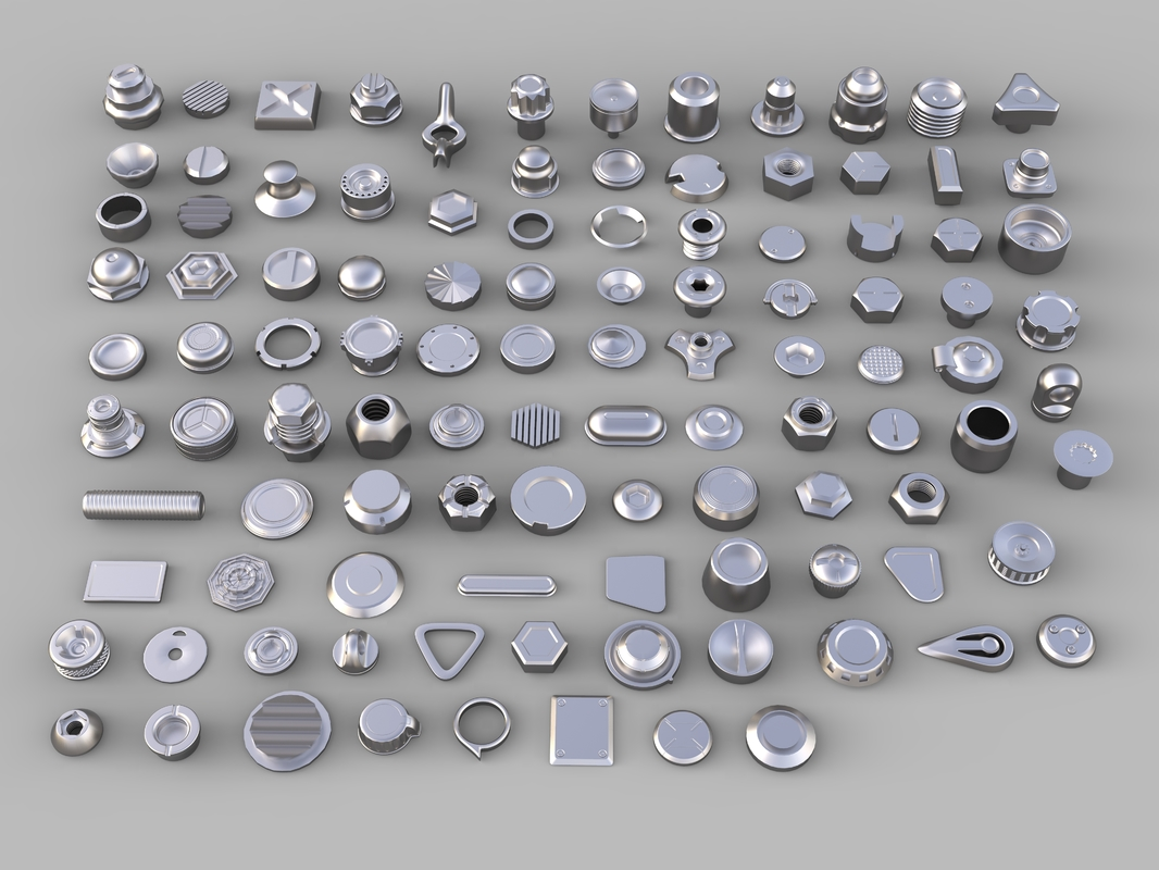 3D bolts knobs 106 pieces model