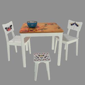 table chair oppa 3D model