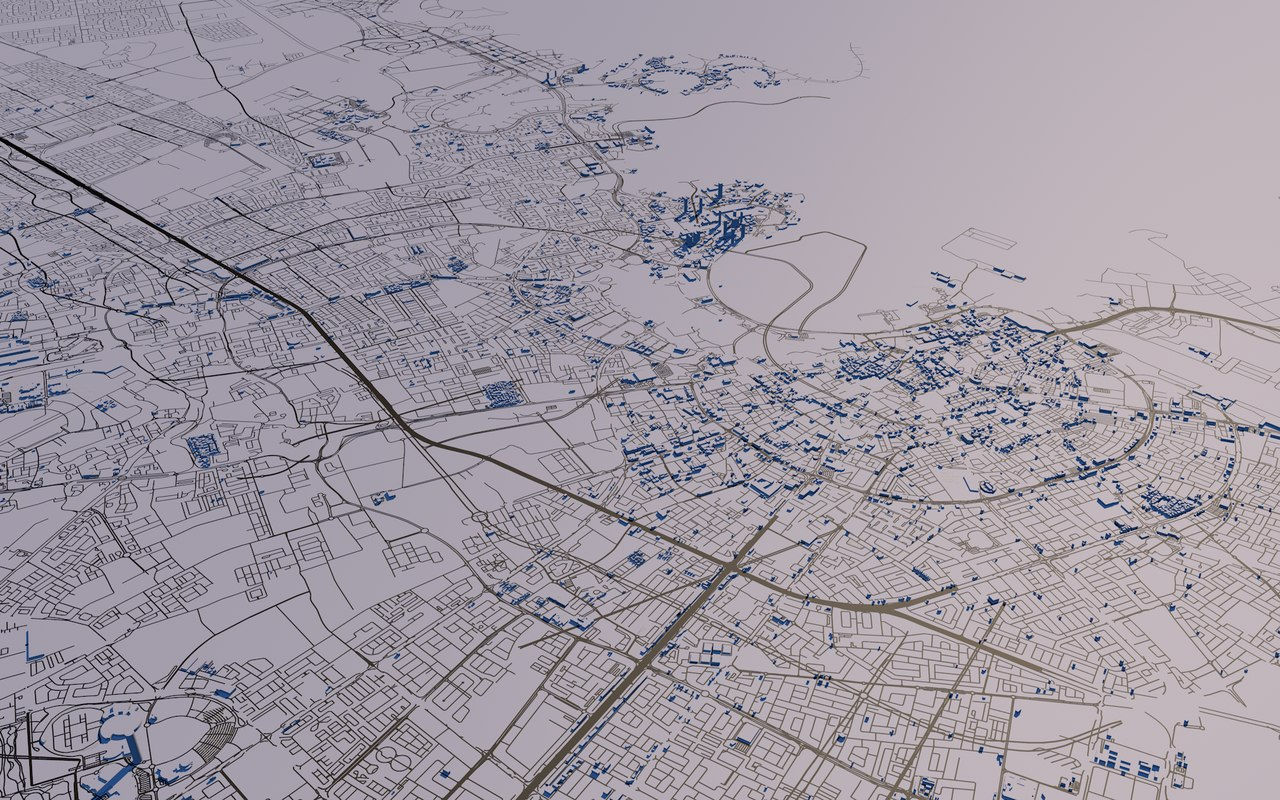 qatar cities streets mapping 3D model