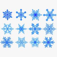 realistic snowflakes set 3D