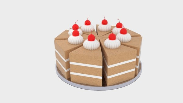 3D model cherry chocolate cake big