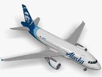 3D airbus alaska airlines a319 model