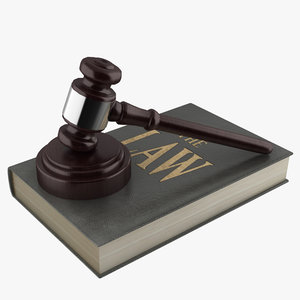 3D gavel law book