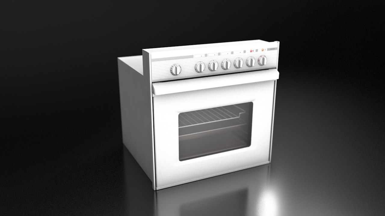 white dishwasher 3D model