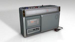 retro cassette radio 3D model