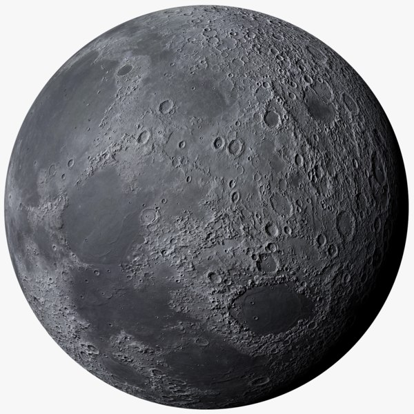 photorealistic moon 3D model