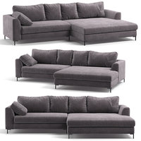 Kare Corner Sofa Black Gianna Velvet Grey Right