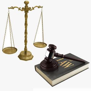 3D model realistic balance gavel law
