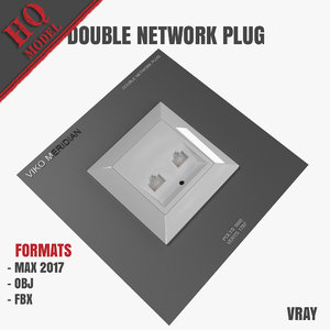 3D model double network plug