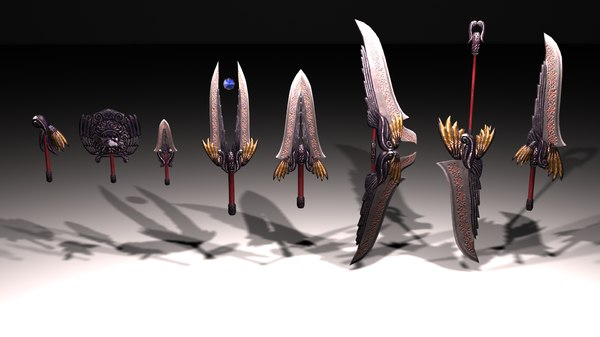 3D model set black gold weapons