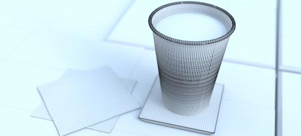 3D latte 12 oz coffee cup model