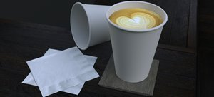 latte 12 oz coffee cup model